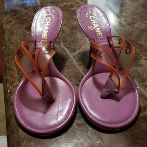 Chanel sandals lavender color orange trim burgundy